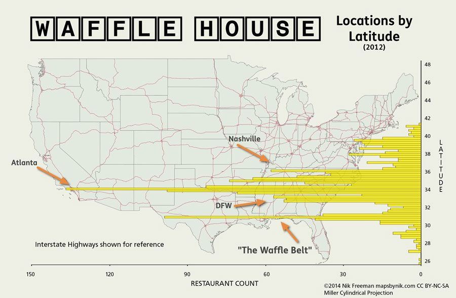 Waffle House - Locations by Latitude Map - Highest Concentration of ...