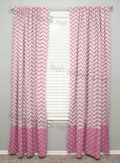 Curtain Panel With Banding Gray Chevron Medium Pink Polka Dot