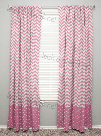 Curtain Panel With Banding Gray Chevron Medium Pink Polka Dot