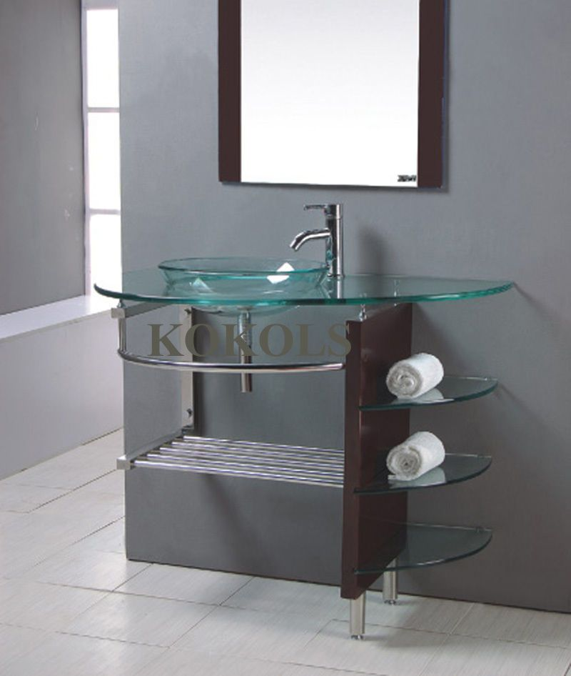 Modern Bathroom Glass Bowl Clear Vessel Sink Wood Vanity W Shelfs