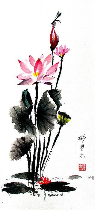 Lotus Retreatspontaneous Xie Yi Style Chinese Brush Painting On
