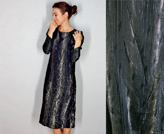 73c4c6ea785a Vintage Long Sleeve Dress, 1970s Shift Dress, Black Silver and Gold Midi  Dress, Formal Dress, Party Dress, Small, Medium, Large