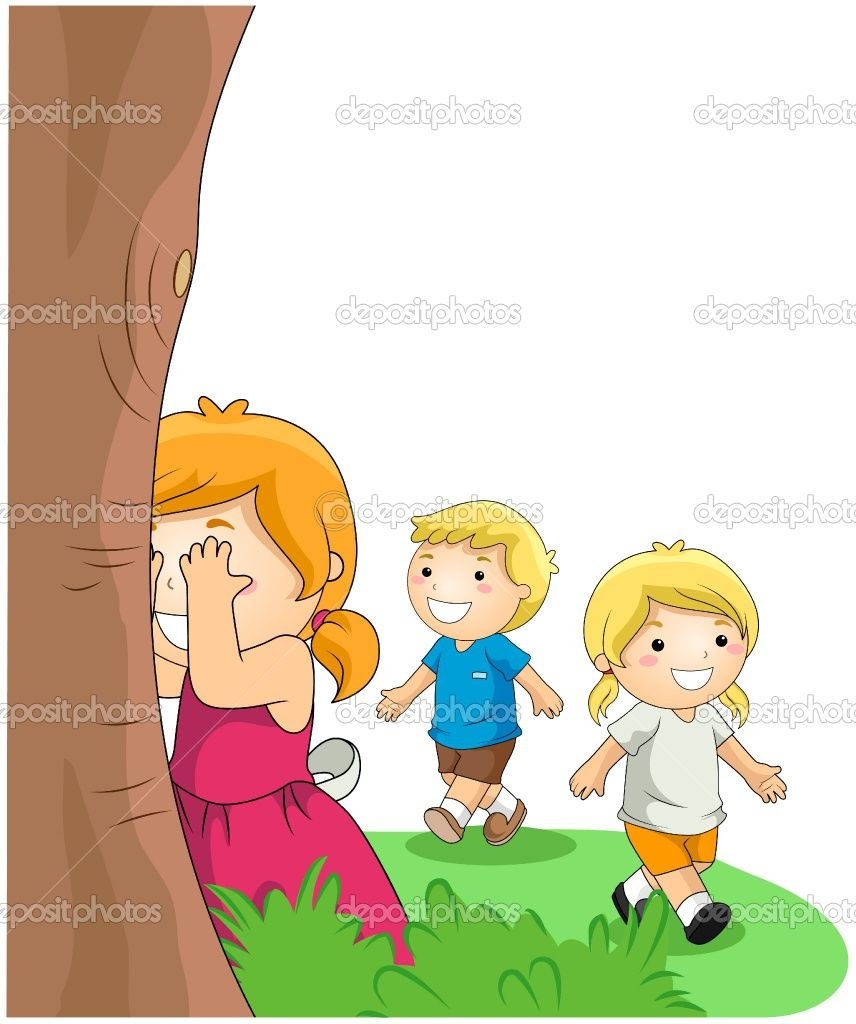 Playing Hide And Seek Drawing For Kids Art Classroom Decor Childhood