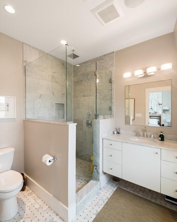 Master Bath Shower Half Wall Half Glass Consider Adding Glass Door Rain Type S Basement Bathroom Design Basement Bathroom Remodeling Guest Bathroom Small