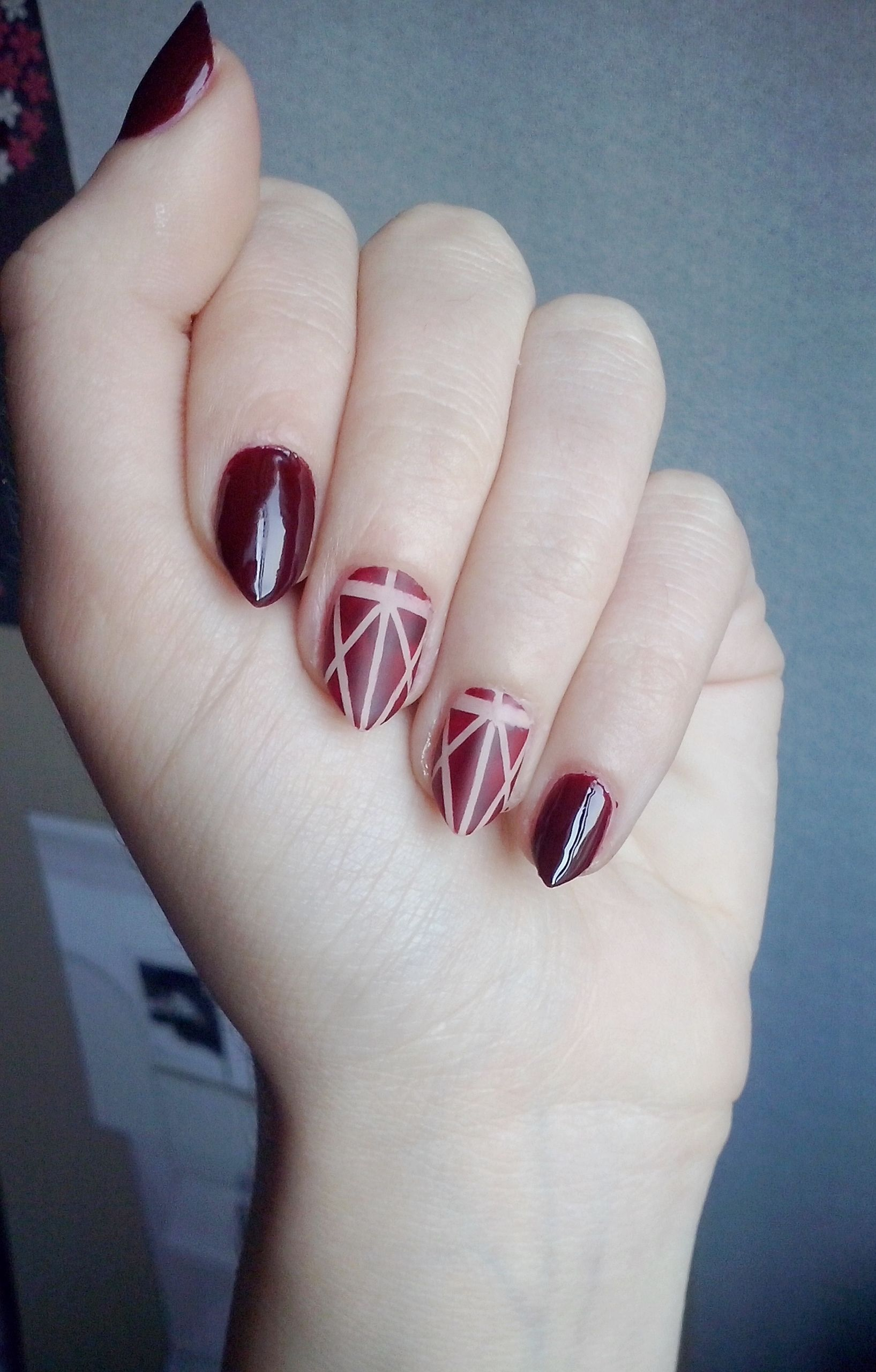 Dark red almond nails | nail designs | Pinterest | Almond nails ...