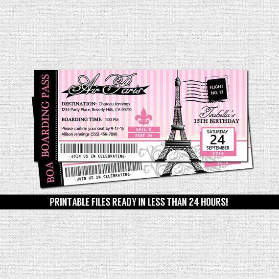 PARIS BOARDING PASS INVITATIONS Printable Files Parisian Birthday Party Ticket Invite