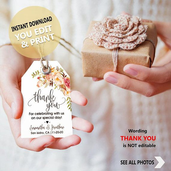 Thank you for coming favor tags, gift bag tag, favor Tags template