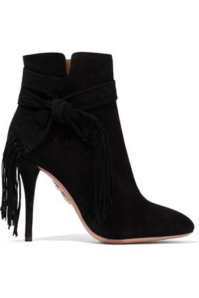 Free Shipping Ebay Aquazzura Woman Loren Knotted Fringe-trimmed Suede Ankle Boots Black Size 37 Aquazzura For Sale The Cheapest Cheap Discount Authentic E3Ip7