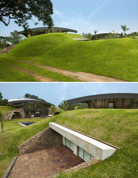 Modern earth shelter homes built into the hillside for Modern berm house plans