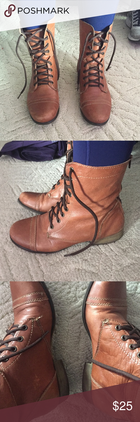 Steve Madden Boots These are size 10 brown leather Steve Madden combat boots. The exterior definitely shows some wear, but I think they still look great (it just adds some character ;-) )! They're very comfortable and are a great color. Steve Madden Shoes Combat & Moto Boots