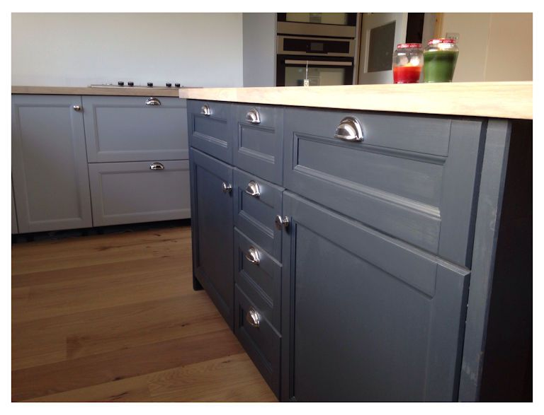 Client Photo Showcasing Installed Henrietta Cup Pulls And