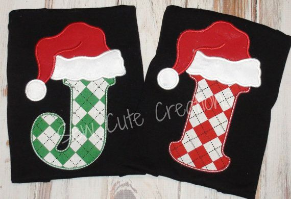 Personalized Santa Initial Christmas Shirt T-shirt Boys Girls Boutique Monogram Short long sleeve custom embroidered