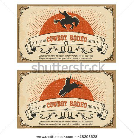 American Cowboy wild horse rodeo.Vector cards isolated on white