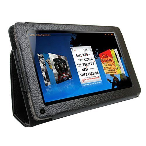 """Black Portfolio Leather Case Cover + Screen Protector for Amazon Kindle Fire 7"""" Tablet Ebook Reader built-in Stand by KIQ. $5.27. This leather case is specifically designed for the Kindle Fire. Holds the Kindle Fire securely in place, while still allowing the user to access all the buttons, ports, and screen . Velvet lining adds a soft touch and takes away any chance of scratching the back of the Kindle Fire. Front cover can be converted into a kickstand to watch ..."""