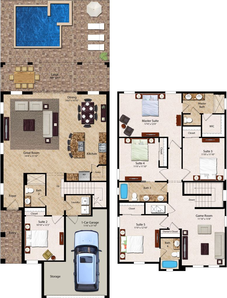 5 Bedroom Homes Ranging From 2 550 To 2 978 Square Feet The Two Story 5 Bedroom Residences Feature A Firs Vacation House Plans House Plans House Layout Plans