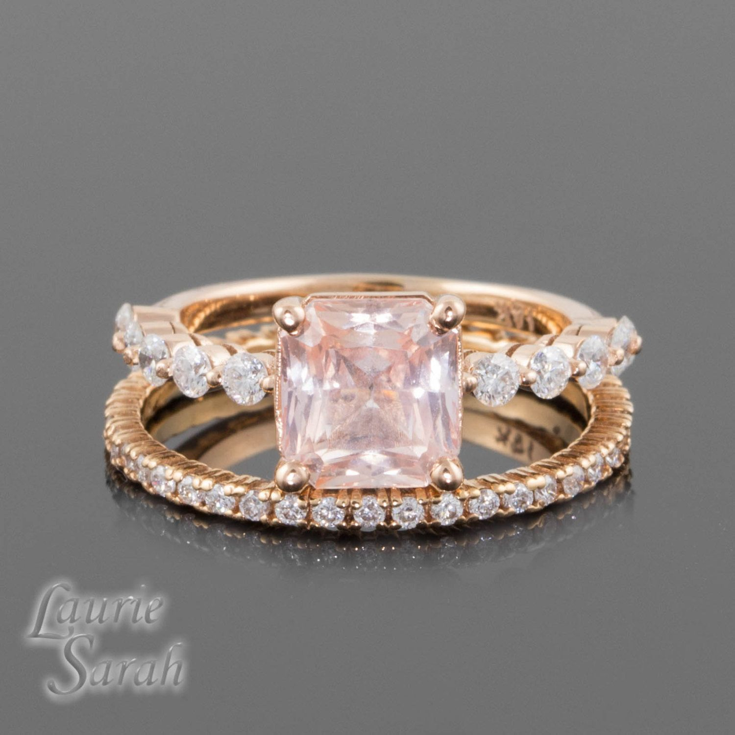 carat padparadscha sapphire kt rose gold by lauriesarahdesigns