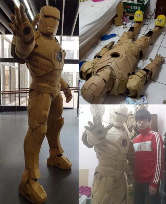 Amazing FullSize Cardboard IRON MAN Suit — GeekTyrant is part of Cardboard costume - Check out this extremely cool, full size Iron Man suit made out of cardboard  The best part is, it's actually wearable!  It was created by 20yearold  Cardboard Artist   KaiXiang Xhong  from Taiwan  When talking about the suit he said,    I used pepakura t