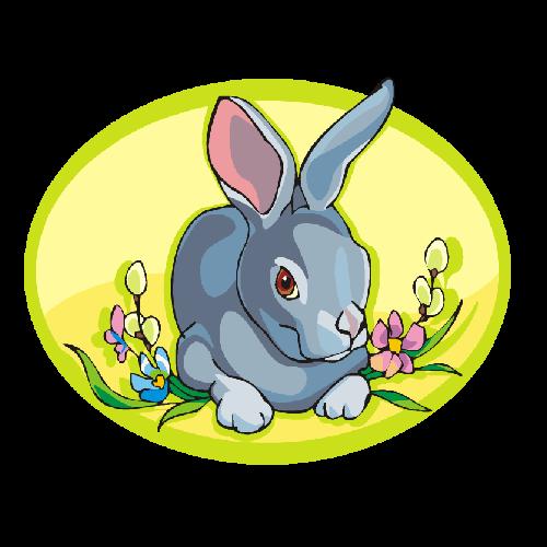 Funny Bunny Rabbit Easter Eggs With Cartoon Animals Clip Art ...