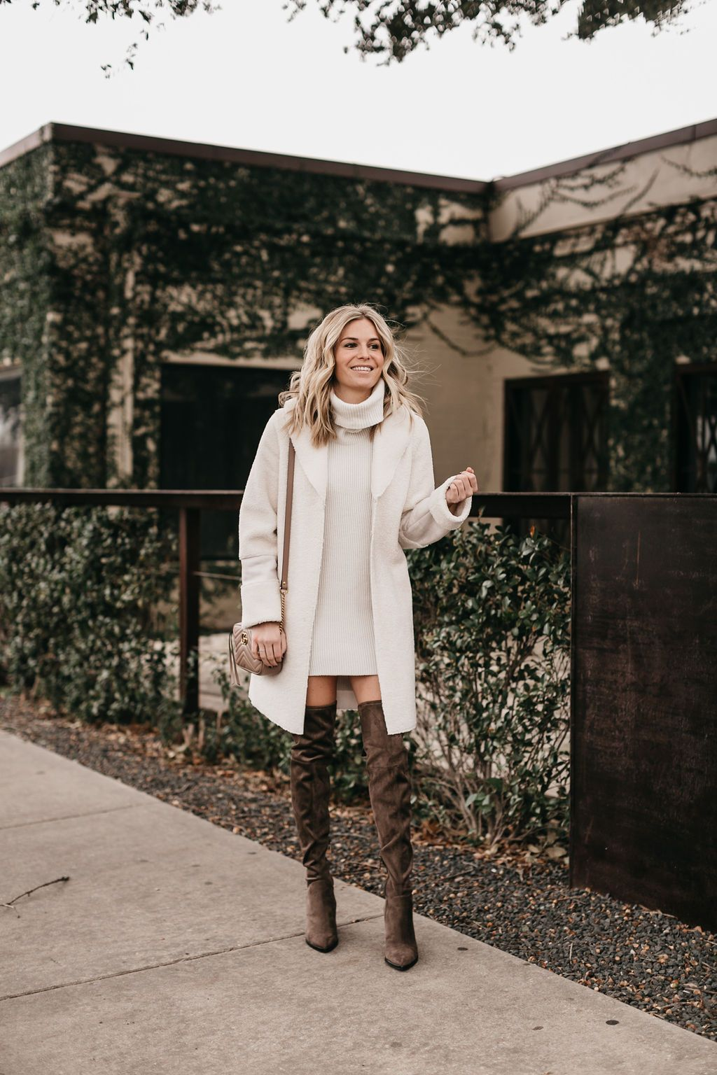 fc69b9bc62 A sweater dress is perfect with a pair of over-the-knee boots and