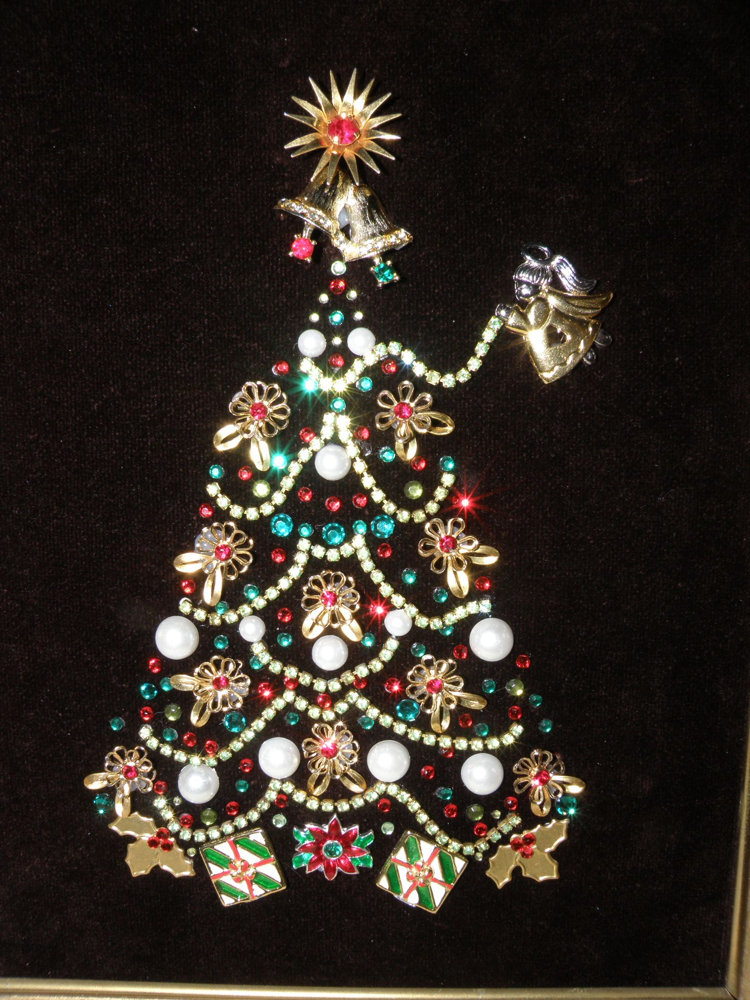 Vintage Jewelry Christmas Tree Red Green Rhinestone Garland