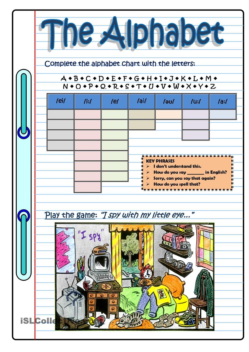 Workbooks pronunciation key worksheets : THE ALPHABET GAME | Follow my worksheets on islcollective ...