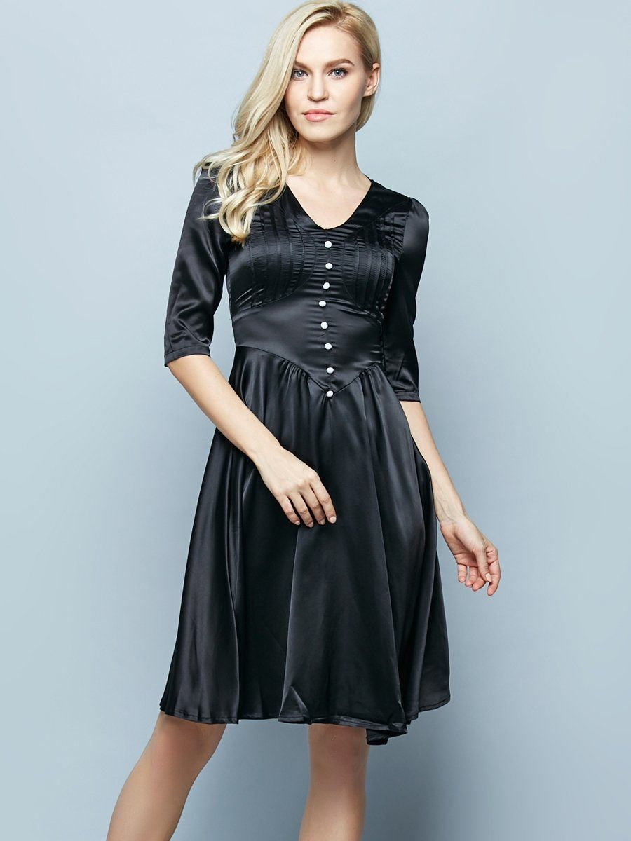V-Neck Decorative Button Plain Skater Dress | Stockings, Witch hats ...