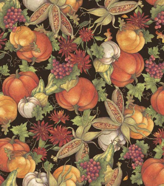 Autumn Inspirations Susan Winget Pumpkins & Leaves 2 Fabric & Holiday Fabric at Joann.com