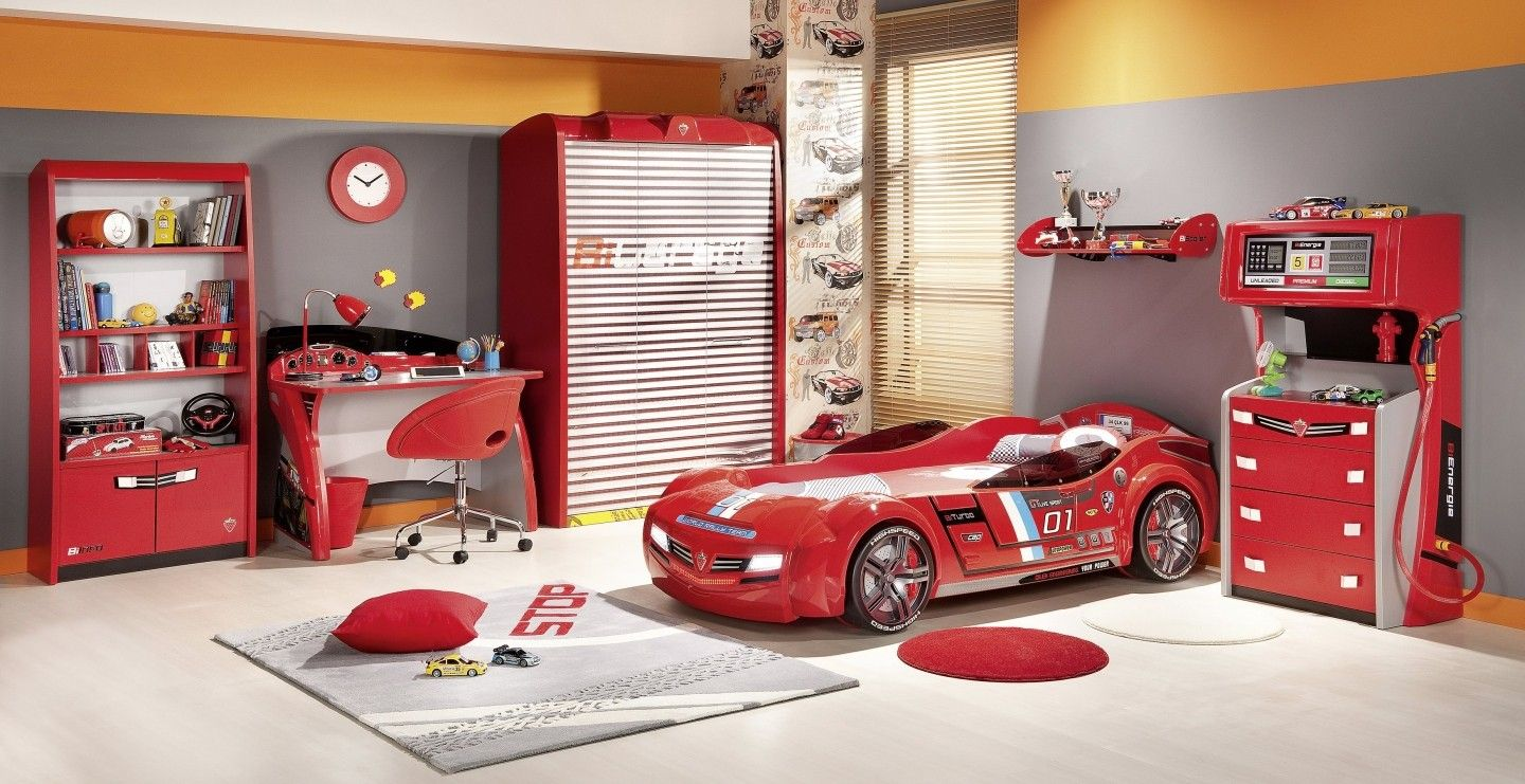 Boys car bedroom ideas - Images Of Boys Bedrooms Designed With Red Car With Round Wheels For Bed Under Shelf Near