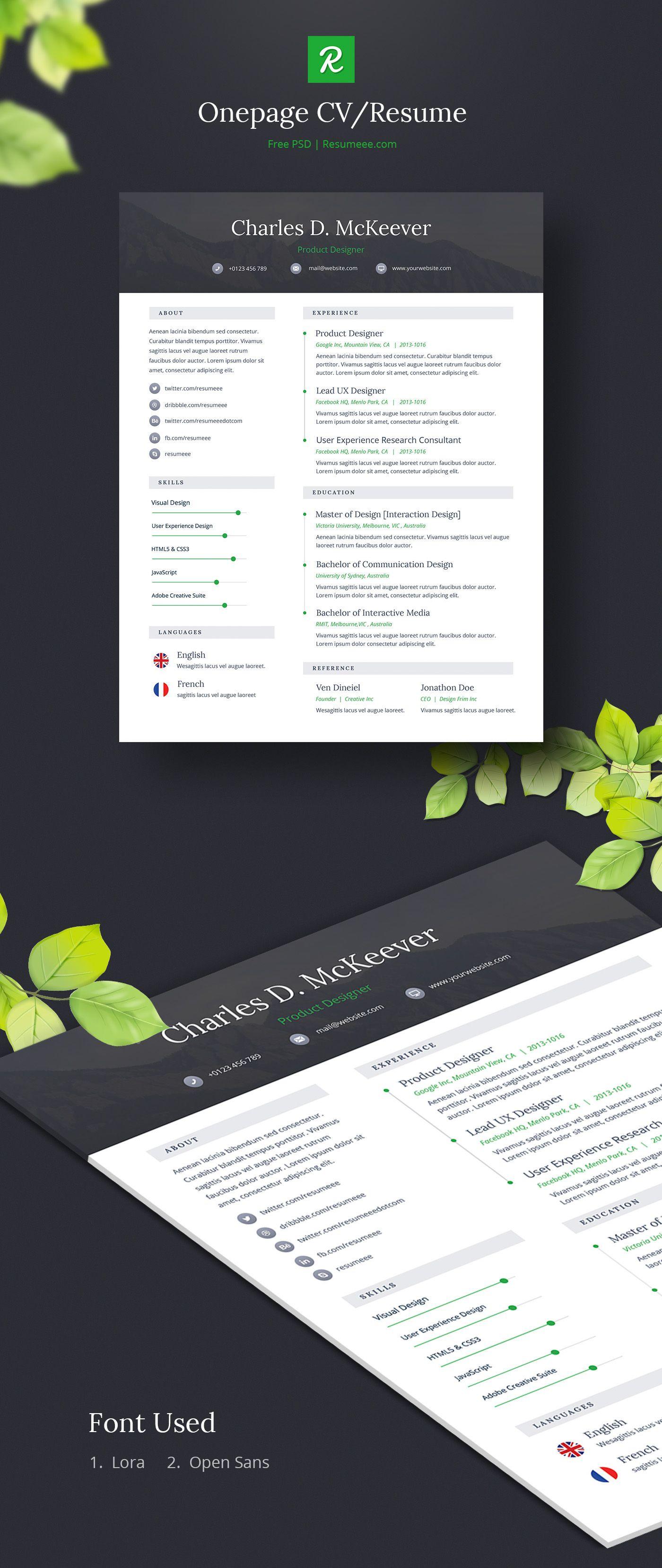 Onepage Free CV/Resume Template on Behance   Creative Resume ...