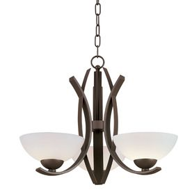 A more modern take on the multi light chandelier inexepensive but i think the smoother glass covers look more modern than the usual flared ones too 37 portfolio 3 light lebach aged bronze chandelier aloadofball Image collections