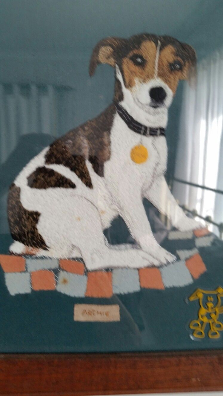 Needlework picture of my dog Archie.