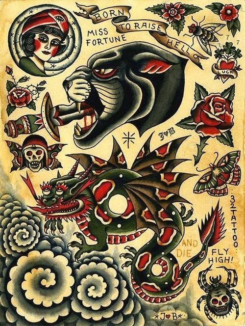 Traditional Tattoo Flash Kysa Ink Design Tattoo Vintage