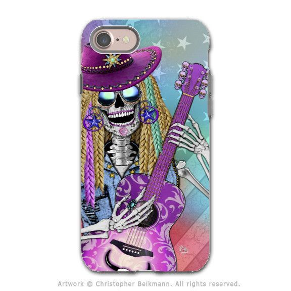 Country Girl Music Skull - Artistic iPhone 7 Tough Case - Dual Layer Protection - Scary Underwood