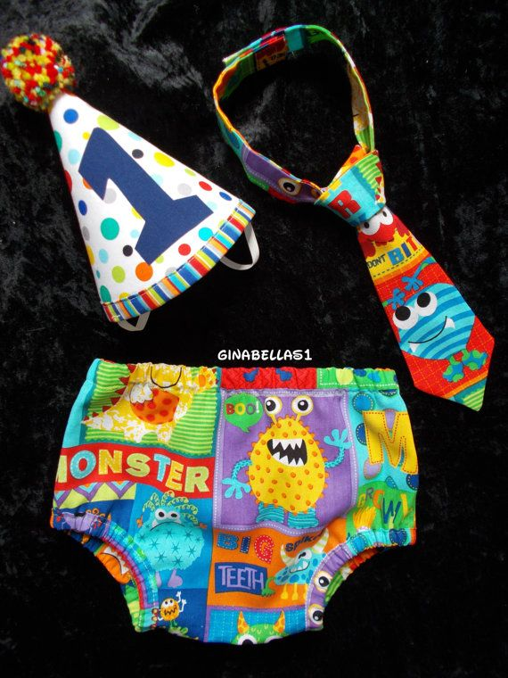 Monster Birthday boy cake smash outfit little man costume