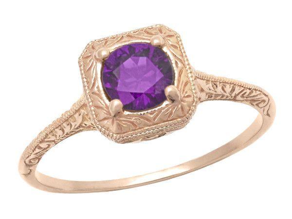 Art Deco Amethyst Filigree Scrolls Engraved 14 Karat Rose Gold Engagement Ring