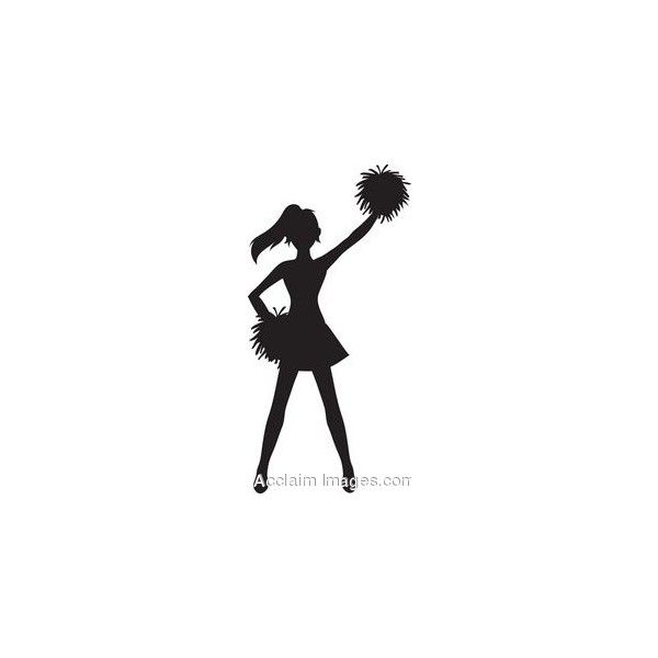 clip art of a cheerleader silhouette with pom poms found on polyvore rh pinterest com clipart pom poms pom poms clipart black and white