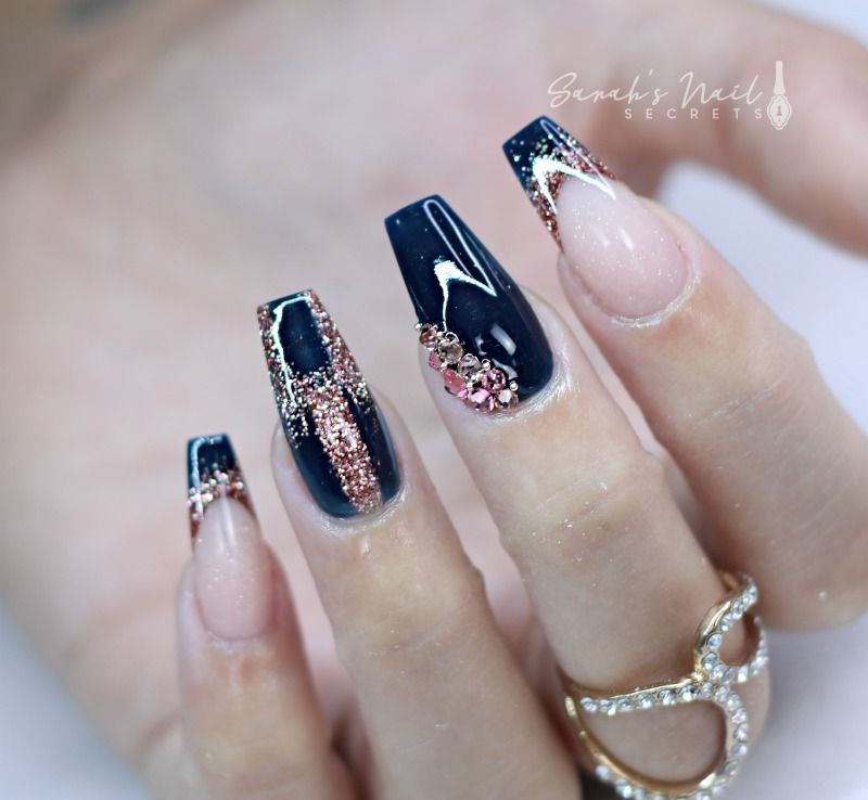 Navy Blue And Rose Gold Nails Rose Gold Nails Acrylic Rose Gold Nails Gold Acrylic Nails