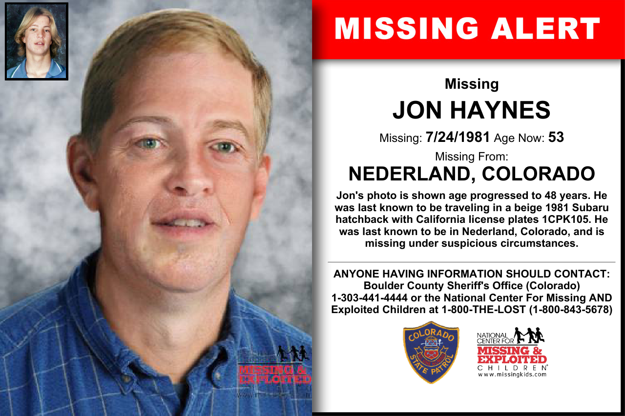 JON HAYNES, Age Now 53, Missing 07/24/1981. Missing From