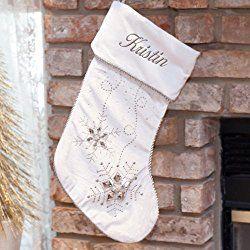 Personalized Jeweled White Christmas Stocking