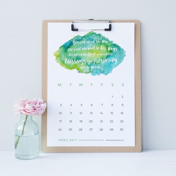 Printable  Wall Calendar  Bible Verses And Watercolour