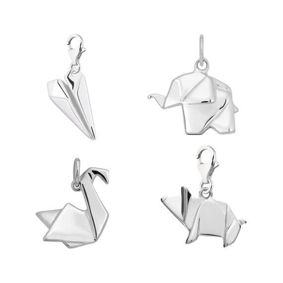 Photo of Selection of Sterling Silver Charms. Paper Plane,Origami Swan, Origami Elephant, Origami Pig. Slide On or Clip On to any charm bracelet