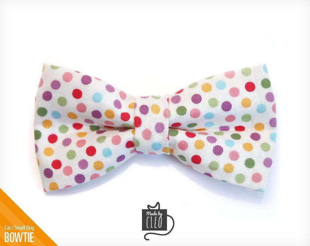 "Pet Bow Tie - ""Candyland"" - Confetti Dots Detachable Bowtie for Cats + Dogs"
