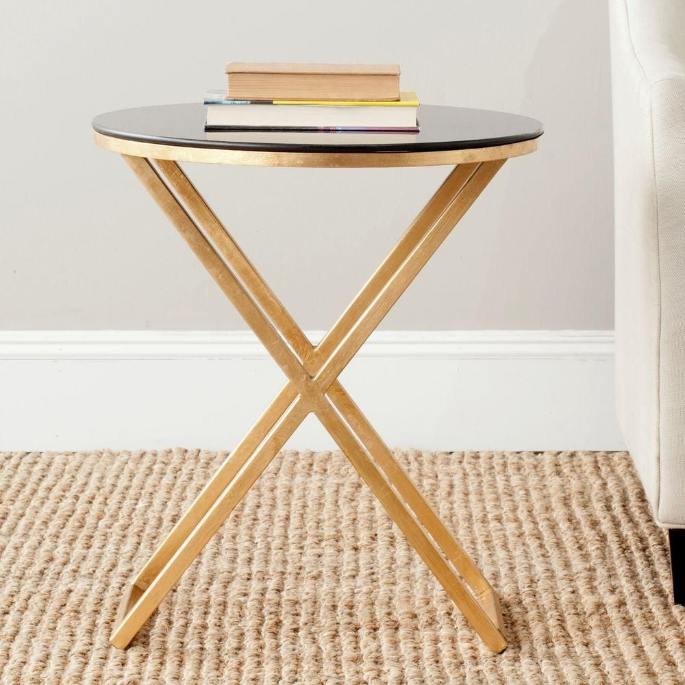 Safavieh Riona Gold And Black Glass Top End Table Gold Black