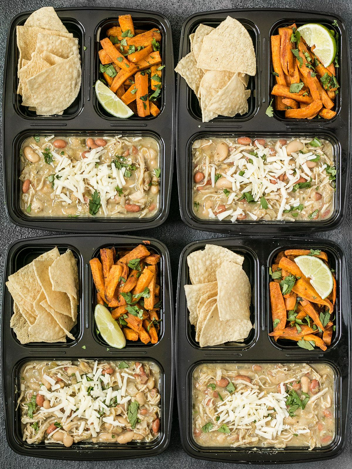 White chicken chili meal prep white chicken meals and cooker this white chicken chili meal prep includes a slow cooker chili with cumin lime roasted sweet potatoes and tortilla chips for dipping budgetbytes forumfinder Gallery