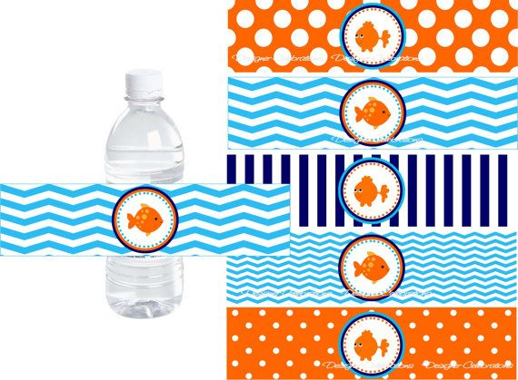 Goldfish Beach Party, Pool Party Water Bottle Labels - INSTANT - water bottle label template