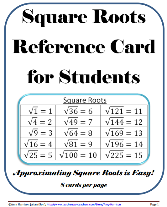Square Roots Reference Card (1-225) | Math poster ...