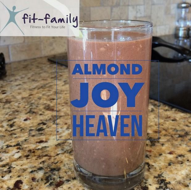 Healthy Almond Joy   1 scoop chocolate SHAKEOLOGY (I used vegan) 1-2 tablespoons of unsweetened coconut 5 oz water 6 oz almond milk  few pieces of ice Blend in a blender for 5-10 seconds