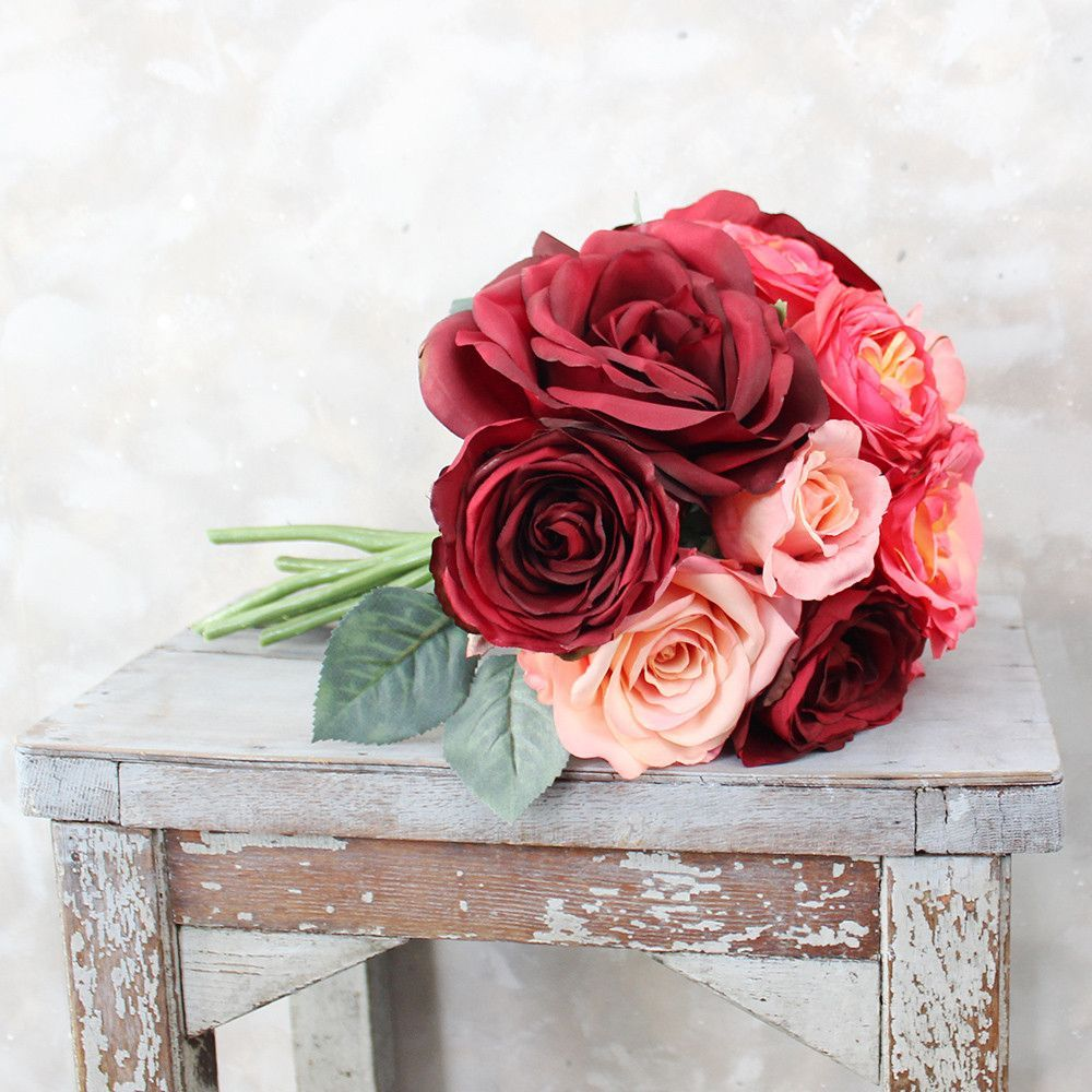 Find gorgeous pre-made silk wedding bouquets like this luscious rose ...