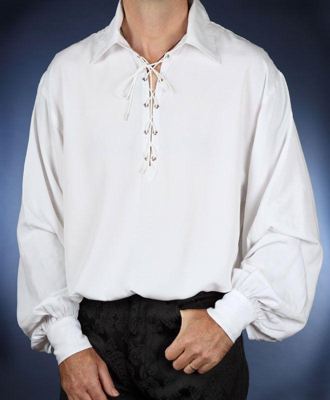 Merchant High Collar Mens Medieval Pirate Shirt Renaissance Festival Costume