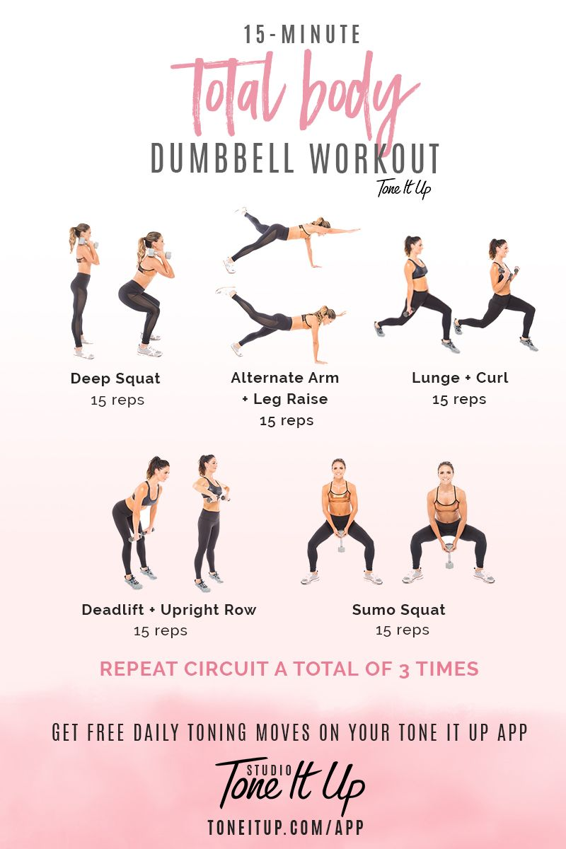 15 min Total Body Dumbbell workout!! | Total Body Toning